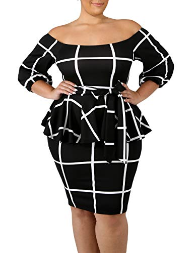 (VINKKE Women's Plus Size Off Shoulder Peplum Dress Checked Bodycon Party Dress)