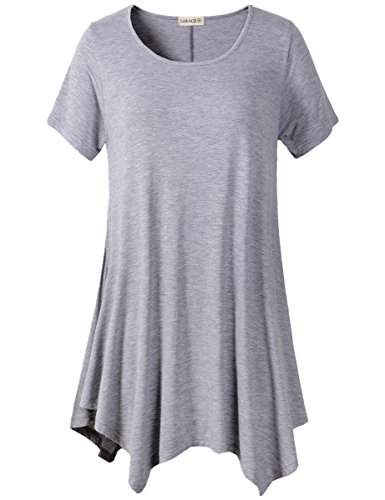 LARACE Womens Swing Tunic Tops Loose Fit Comfy Flattering T Shirt (M, Light Gray)