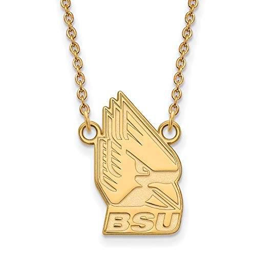 - 10k Yellow Gold Ball State University Cardinals Charlie Mascot Pendant Necklace 17x13mm 18 Inches