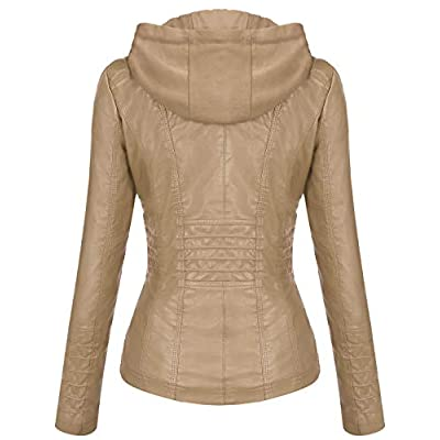 Tanming Women's Removable Hooded Faux Leather Jackets at Women's Coats Shop