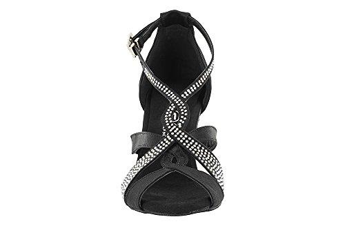 scarpa da ballo con fasce incrociate e cristall strass boreali tacco 7,5 cm