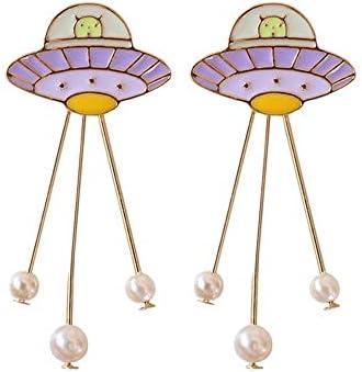 ZSDIER かわいいジュエリー日本の惑星の真珠かわいいファッションブローチスタッドピアス