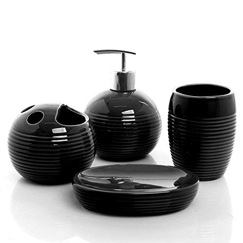 Empire Home Ribbed 4-Piece Bathroom Accessory Ceramic Set - Lotion Dispenser/Tumbler / Toothbrush Holder/Soap Dish (Black)
