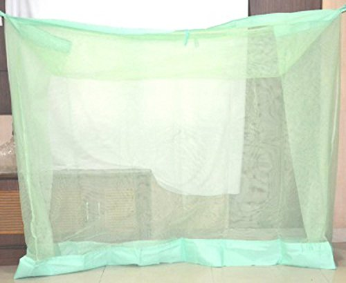 Shahji Creation Double Bed Mosquito Net, Green Color (6X6.5 Feet)