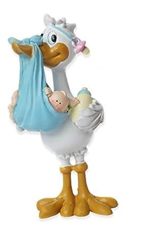 Tortenfigur Baby Mit Storch Blau Taufe Babyparty Geburt Tortendeko