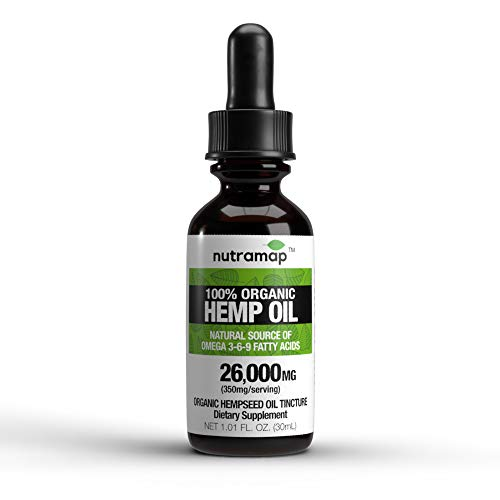 100% Organic Hemp Oil Tincture : 26000MG : Natural Source of Omega 3-6-9 Fatty Acids : Made in USA (350mg per Serving x…
