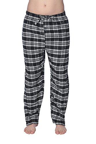 Active Club - Super Soft Men's Flannel Plaid Pajama Pants/Sleepwear Bottoms (Black Plaid, ()