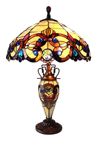 Chloe Lighting CH18648-IVRY-DT3 Tiffany-Style 3-Light Double Lit Table Lamp with 18-Inch Shade - Mission Double Shade Table Lamp