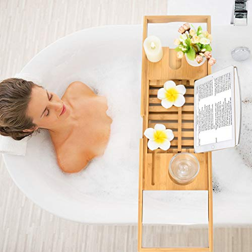 - Bathtub Caddy,WensLTD Portable Bamboo Bathtub Caddy Tray with Extending Sides, Ipad Tray and Wineglass Holder (Ship from US!!!)