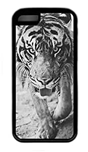 iPhone 5C Case, Personalized Protective PC Soft Hard Black Edge Case for iphone 5C - Tiger Cover