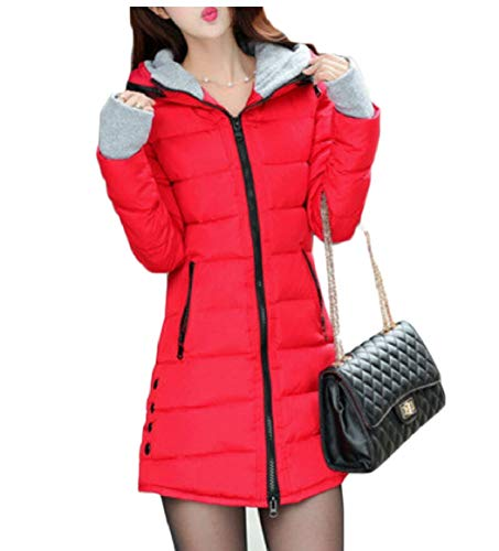 Jacket Hooded Thumb security Winter Womens Red Down Parka Quilted Hole Warm OqOYzxEHw