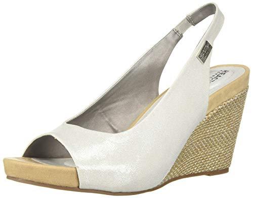 Kenneth Cole REACTION Women's Wait Sling Open Toe Wedge Sandal, White 9 M US