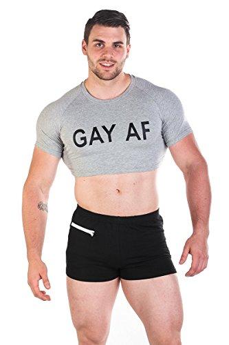 Men's Fun Cropped Tee Fitness Slim Fit Crop Top T Shirt,Gay (Af Long Shirt)