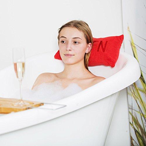 Relaxdays Coussin de bain oreiller de bain pour la nuque HxlxP: 10 x 37 x 15 cm coussin voyage 2 ventouses motif Queen reine, rouge