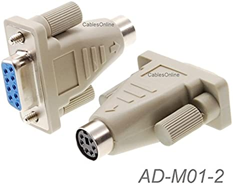 2-PACK PS//2 MiniDin6 Female to DB9 Serial Female Mouse Adapter AD-M01-2
