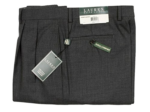 Ralph Lauren Mens Double Pleated Charcoal Gray Wool Dress Pants - Size 38 x32 by RALPH LAUREN (Image #2)