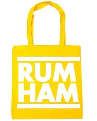 HippoWarehouse Rum Ham (Ron Jamón) Bolso de Playa Bolsa Compra Con Asas para gimnasio 42cm x 38cm 10 litros capacidad Amarillo