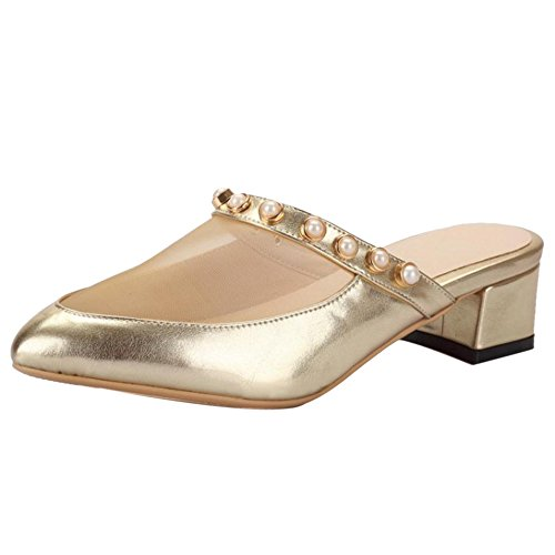 TAOFFEN Women Slip On Mules Sandals Gold JP42J