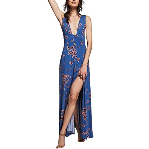 Wholesale CA Mode Women Floral Print Cotton Plunging Neckline Summer Beach Swing Maxi Dress