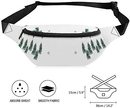 家族の楽しい休日のクリスマスツリー ウエストバッグ ショルダーバッグチェストバッグ ヒップバッグ 多機能 防水 軽量 スポーツアウトドアクロスボディバッグユニセックスピクニック小旅行