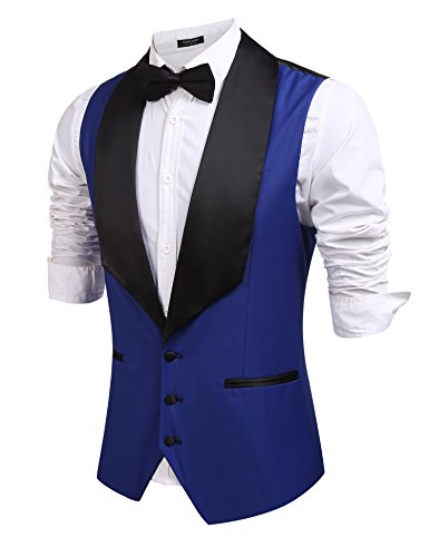 Coofandy Mens V-neck Slim Fit Sleeveless Jacket Wedding Dress Suit Vest Waistcoat,Royal Blue,Large -