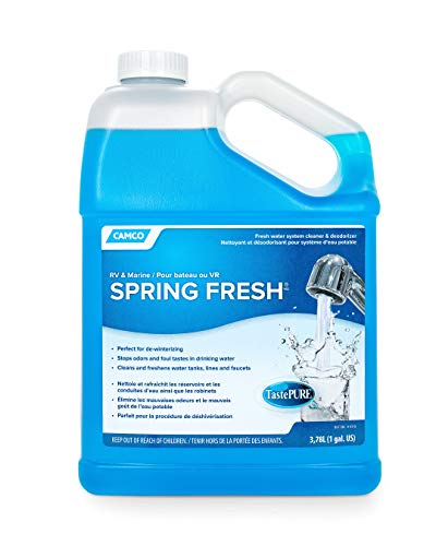 Camco TastePURE Spring Fresh Water System Cleaner and Deodorizer for RV and Marine - Cleans and Freshens Water Lines, Great for Dewinterizing - 1 Gallon (40207) ()