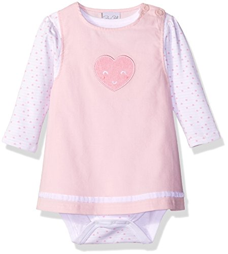 Rene Rofe Baby Baby Girls' 2 Piece Corduroy Jumper Set with Lap Shoulder Longsleeve Bodysuit, Love Pink 18 Months ()