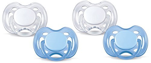 Philips AVENT Freeflow Pacifier BPA, Free Blue / White, 0-6 Months (Pack of 4) by Philips AVENT