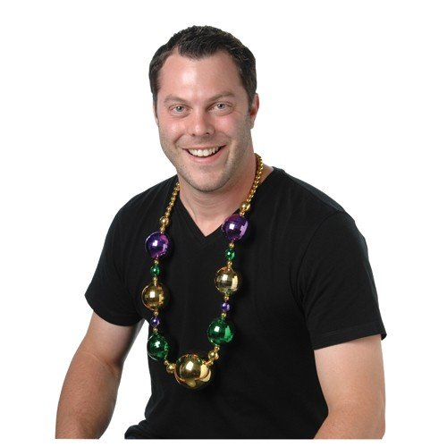 JUMBO DISCO BALL MARDI GRAS NECKLACE, SOLD BY 13 PIECES