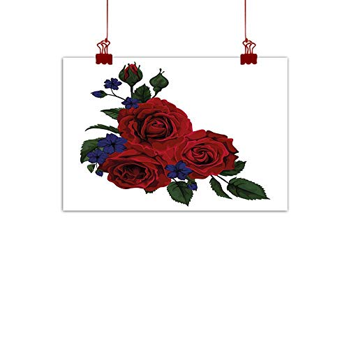 Sunset glow Decorative Music Urban Graffiti Art Print Rose,Blooming Red Roses with Gentle Wild Flowers Leaves Bouquet Corsage,Ruby Violet Blue Hunter Green 24