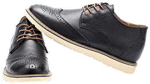 Caihee Hombres Zapatos Oxford De Cuero Ocasionales Clásicos Encajes Negro
