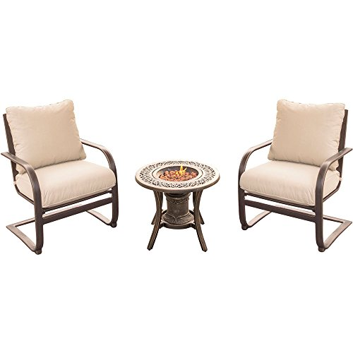 - Hanover Summer Nights 3-Piece Fire Pit Chat Set in Tan with Two C-Spring Chairs and a 10,000 BTU Fire Pit Side Table