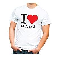 1WEN! Playera I love mom, I love mamá PARA HOMBRE color blanco