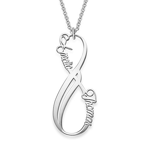 Vertical Infinity Pendant Name Necklace in Sterling Silver - Custom Made with Any Name