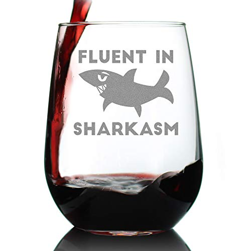 Fluent in Sharkasm - Shark Stemless Wine Glass Gifts for Sarcastic Mom or Dad Joke Experts - Funny Glasses with Sayings for Drinking - Large 17 Ounce