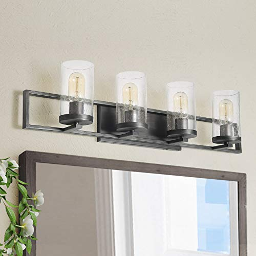 LALUZ 4-Lights Rustic Black Bathroom Vanity Lights with Seeded Glasses, 31.5 inches ()