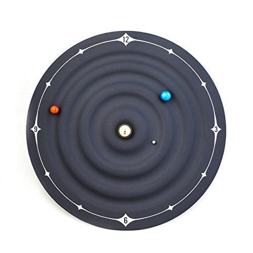 Hot Novelty Planetary Galaxy Magnetic Clock Fashion Home Decoration 3d Wall Clock Modern Design Mute Watch Wall,Black,8 inch by Daolin