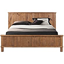 CDI Furniture LI1084QWP Country Collection Rustic Pine Wood Traditional Country Queen d Bed, Weathered Pine Finish, Queen