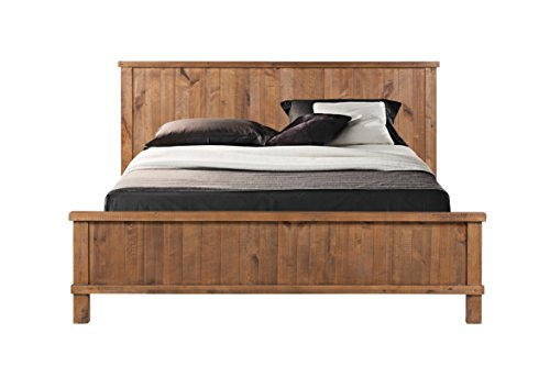 CDI Furniture LI1084QWP Country Collection Rustic Pine Wood Traditional Country Queen d Bed, Weathered Pine Finish, Queen (Finish Country Wood Bed)