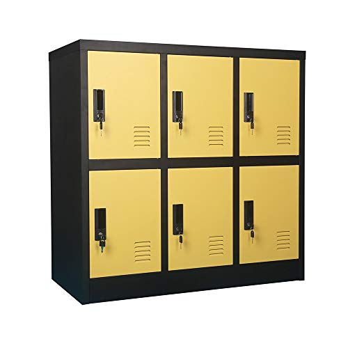 - Small Office Storage Locker Cabinet Organizer for Employee,School Locker for Kids Mini Size (Yellow, W6D)