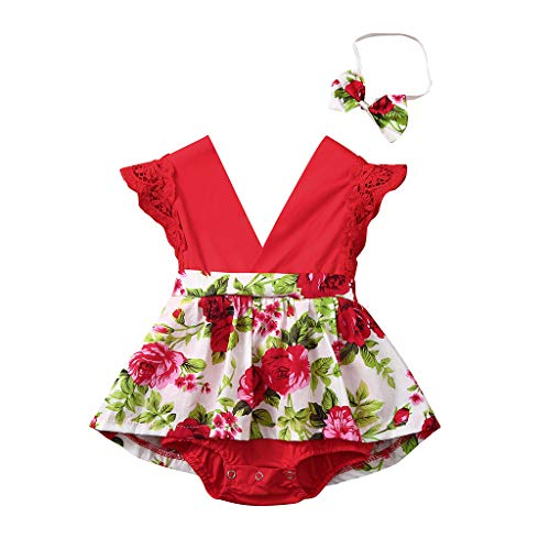 MSOO Newborn Summer Toddler Baby Girl Clothes Cute Watermelon Print Lace Trim Backless Romper Shorts Jumpsuit (12-18 Months)