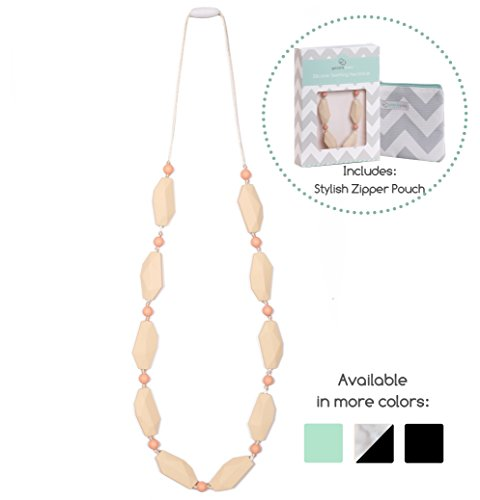 UPC 634753520593, Goobie Baby Naomi Silicone Teething Necklace for Mom to Wear, Safe BPA Free Beads to Chew - Peach/Cream