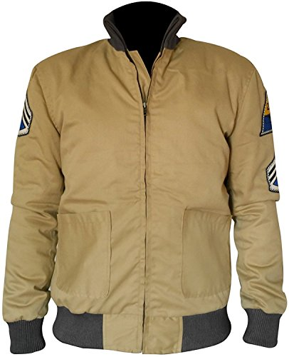 Fury Brad Pitt US Army Tanker WW2 Military Style Bomber Men's Cotton Jacket (XL) Khaki