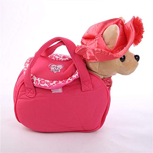 - La Dran Chi Chi Love Plush Chihuahuas with Bag Interactive Electronic Pet Walking Dog Barks Singing Puppy Stuffed Animals Baby Kids Toy D