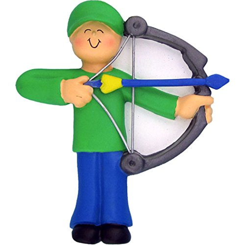 Personalized Archery Christmas Tree Ornament 2019 - Boy Practice Shooting Bow Arrow Target Man Green Professional Hunting Hobby Sport Recreational Activity - Free Customization (Male)