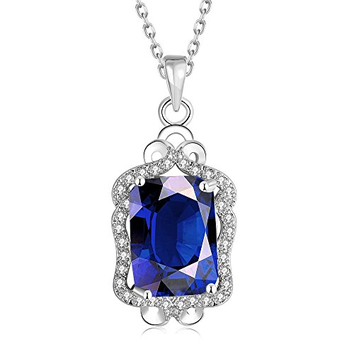 [SDLM Luxury Clear Square Gem Jewelry Princess Fashion Bib Pendant Necklace(blue)] (Custom Costumes Jewelry Wholesale)