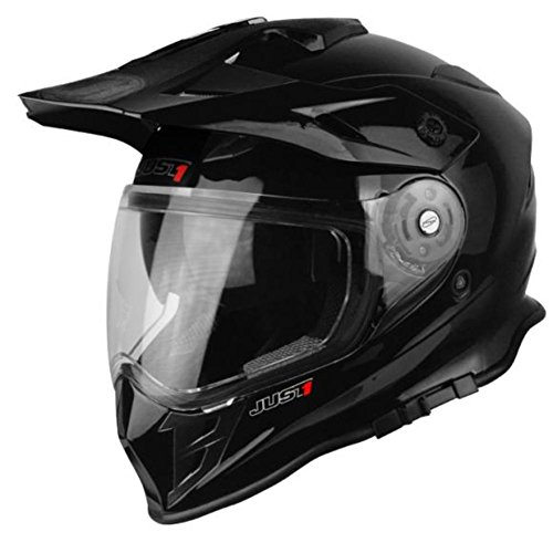 (Just 1 J34 Unisex-Adult Off Road Polycarbonate Shell Motocross Motorcycle Helmet Solid Black Gloss Medium)