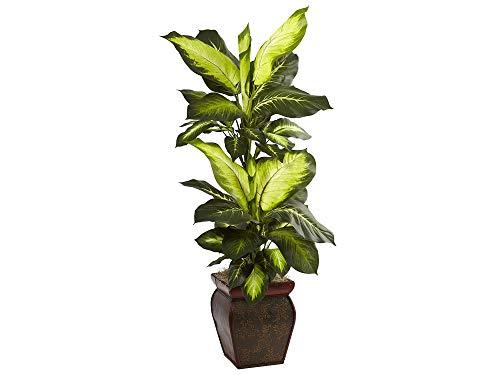 Nеаrly Nаturаl Home Decor 6731 Golden Dieffenbachia with Decorative Planter, - Amalfi Planter