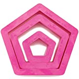 DECORA Set 3 Pentagon Cookie Cutters, Pink, Set of 3