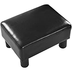 Giantex Small Footstool PU Leather Ottoman Footrest Modern Home Living Room Bedroom Rectangular Stool with Padded Seat Plastic Wood Legs, Black